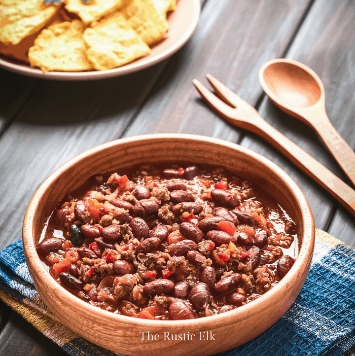 Venison chili in a bowl.
